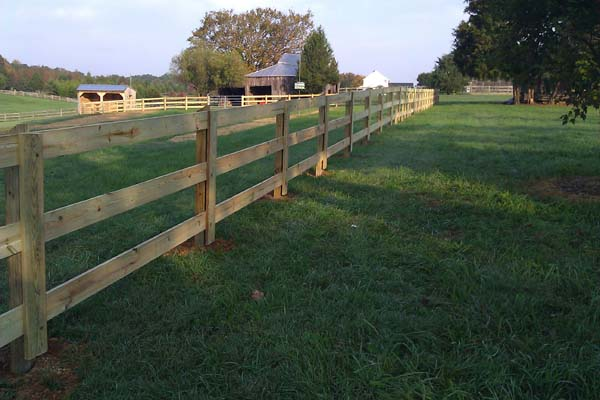 3 rail board wood fence