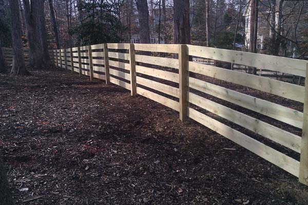 5-rail board wood fence